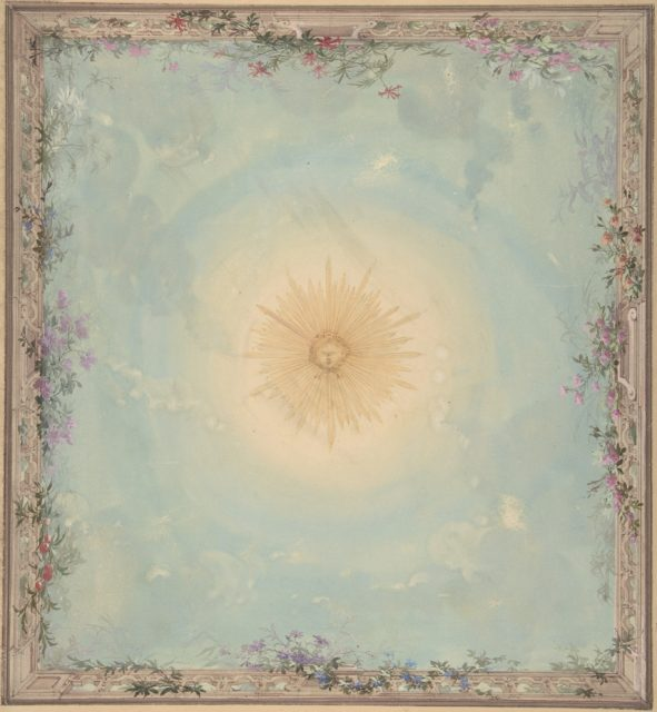 Designs for Ceilings with Central Sunburst
