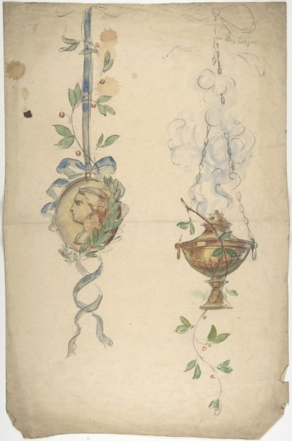 Designs for Trophies Containing Medallion and Urn