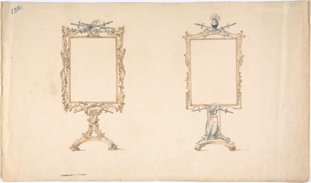 Designs for Two Mirror Frames Supported on Footed Pedestals with Armorial Ornament