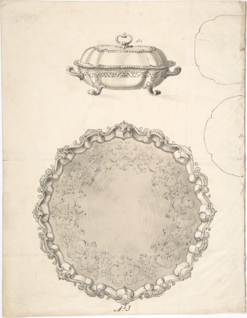 Designs for Two Silver Serving Dishes and Trays