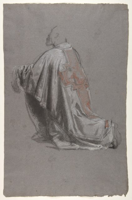 Drapery Study for a Bishop (lower register); verso:  Sketch of a sleeve; (studies for wall paintings in the Chapel of Saint Remi, Sainte-Clotilde, Paris, 1858)