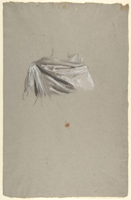 Drapery Study for Soldier (middle register; study for wall paintings in the Chapel of Saint Remi, Sainte-Clotilde, Paris, 1858)