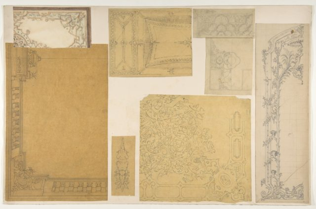 Eight designs of the ornamentation of ceilings and walls, probably for the Duc de Mouchy