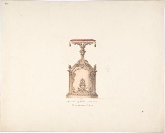 Elevation of a Pulpit, Front View, R. Edmundson & Sons