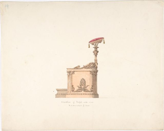 Elevation of a Pulpit, Side View, R. Edmundson & Sons