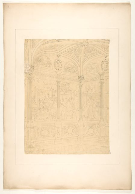 Elevation of the corner of a room decorated with Renaissance-style murals and carved woodwork