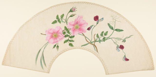 Fan Design with Flower Motifs