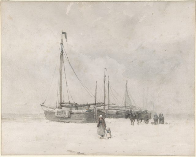 Fishing Boats on the Beach in Winter