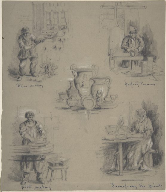 Five drawings showing the manufacture of china