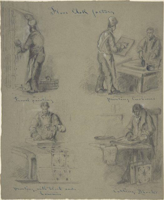 Four drawings showing the manufacture of floor cloth