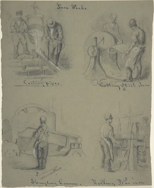 Four drawings showing the manufacture of iron