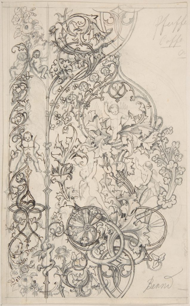 Gothic Ornament with Putti and Acanthus Leaves