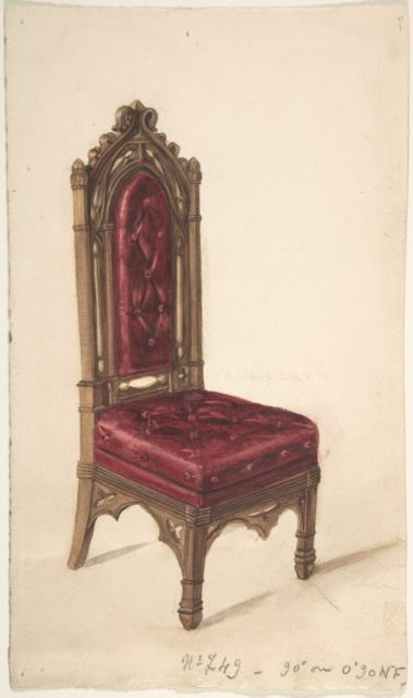 Gothic Style Chair with Dark Wood Frame and Maroon Upholstery