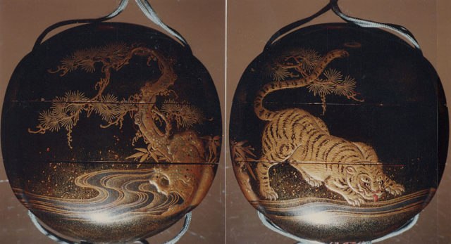 Inrō with Tiger Drinking from a River beside Rocks and Pine Tree