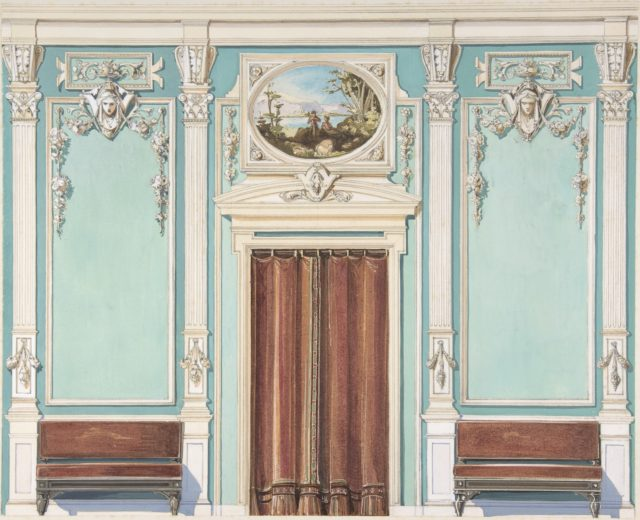 Interior Design with a Central Door with Brown Curtains Flanked by Benches, against an Aquamarine Wall, with an Overdoor Painting