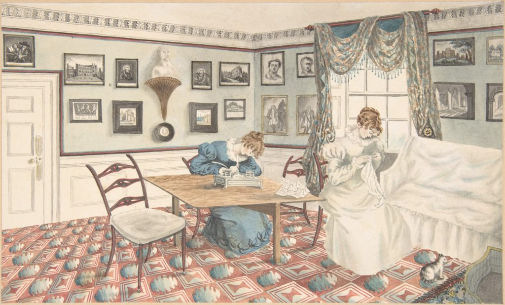 Interior with a Woman Writing and Sewing