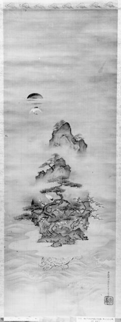 Isle of Immortals with Flanking Chinese Landscapes (Eight Views of Xiao and Xiang)