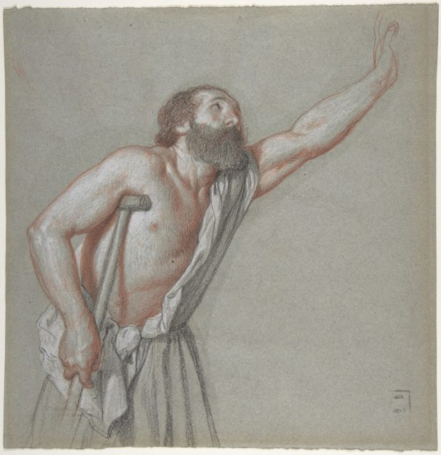 Man Leaning on a Crutch with Left Arm Raised
