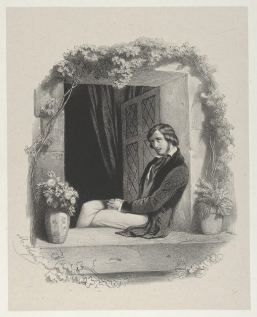 Melancholy, young man with folded hands sitting on window sill