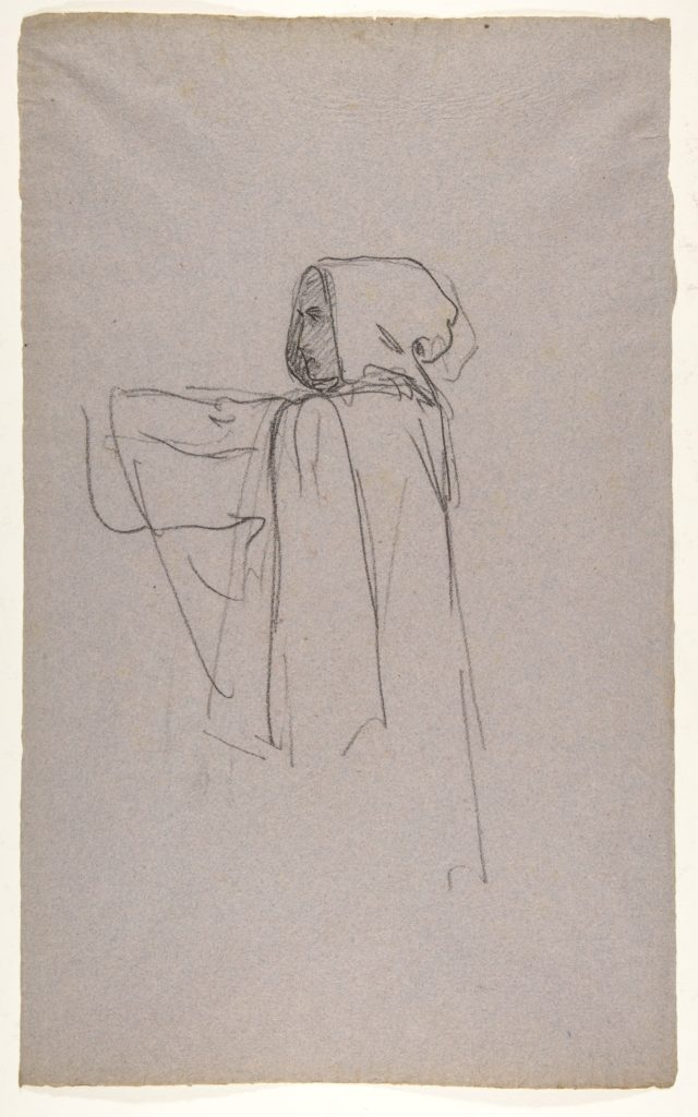 Monk (lower register); verso:  Drapery Study for a Bishop (lower register); (studies for wall paintings in the Chapel of Saint Remi, Sainte-Clotilde, Paris, 1858)