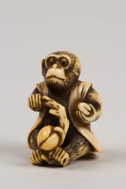 Netsuke in the Shape of a Monkey with a Peach