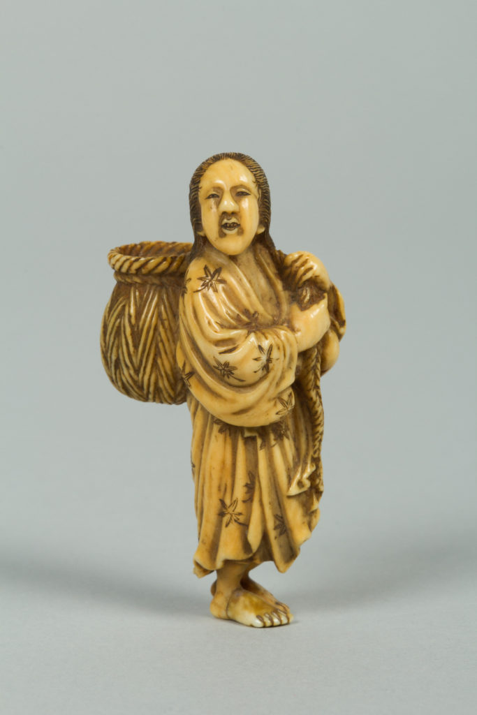 Netsuke of a Girl Carrying a Basket on her Back