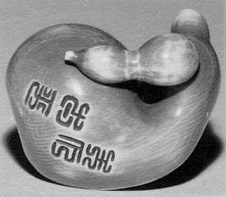 Netsuke of a Small Gourd on a Halved-Gourd