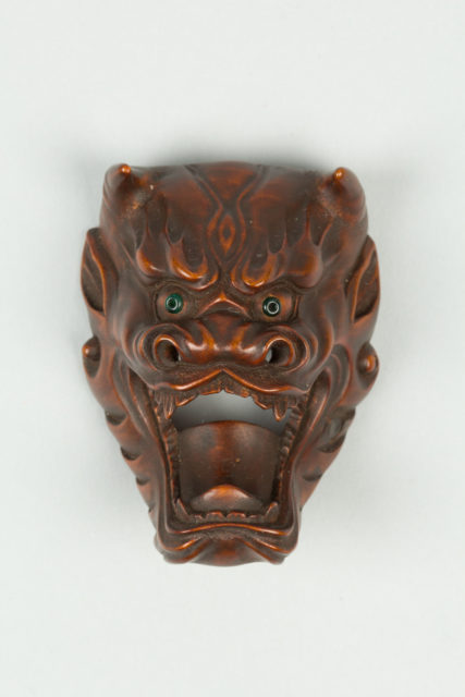 Netsuke of Devil Mask with Wide-Open Mouth