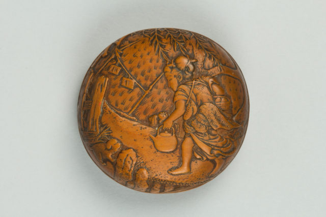 Netsuke of Peasant Girl Bringing Lunch; on reverse, a Scarecrow