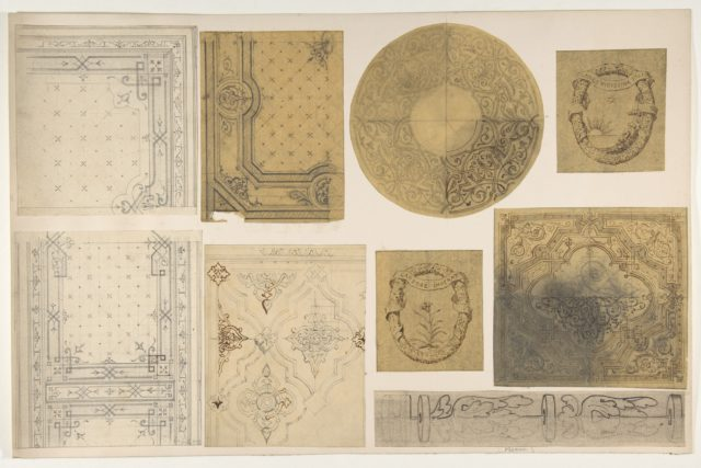 Nine designs for the painted decoration of an interior, possibly for the Hôtel Rothschild, Vienna