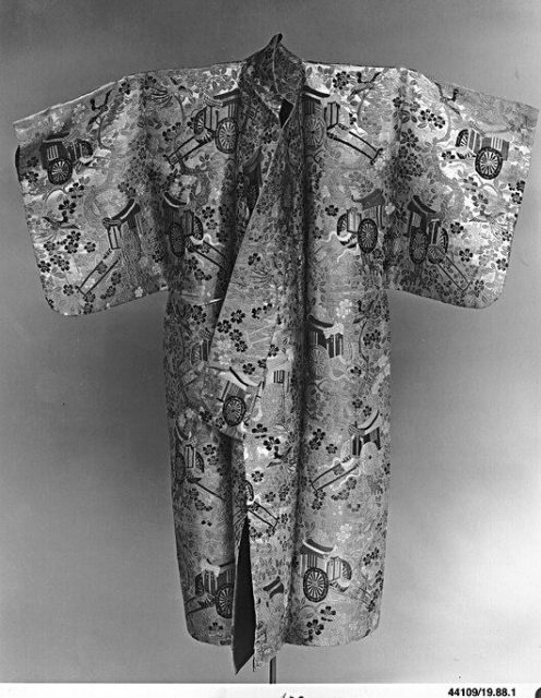Noh Robe (Karaori) with Court Carriages and Cherry Blossoms