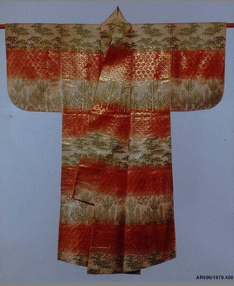Noh Robe (Karaori) with Pattern of Bamboo and Young Pines on Bands of Red and White
