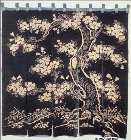 Noren with Design of Flowering Cherry Tree