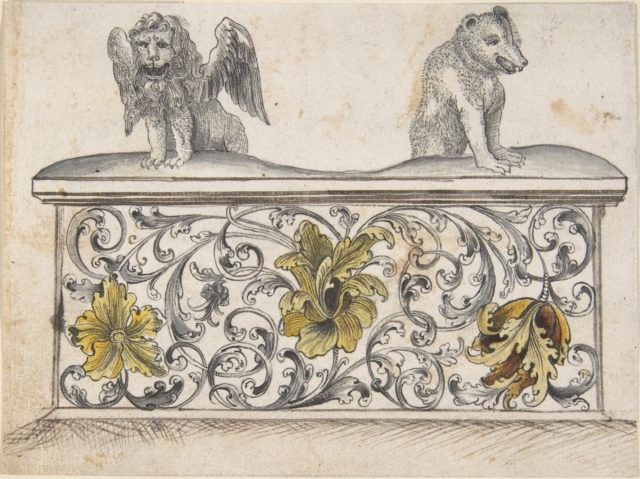 Ornamental design for front of a chest with winged lion and bear