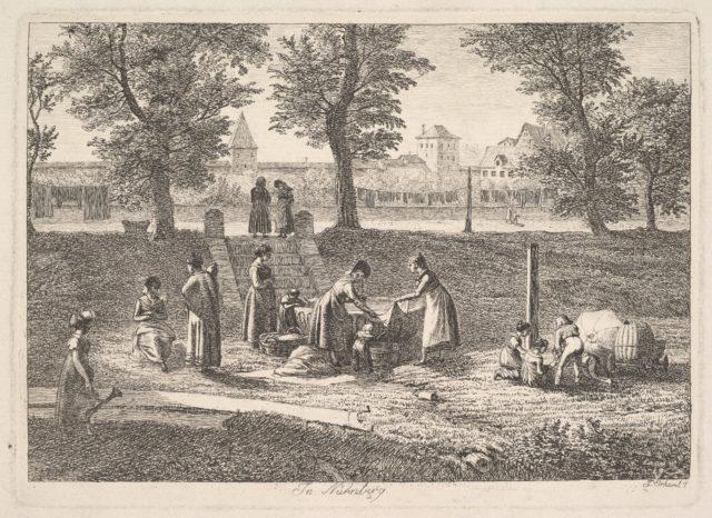 Outdoor Scene of Women in Domestic Activities in Nurnberg,