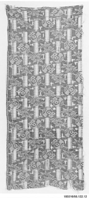 Piece of Cloth for Kimono with Pattern of Round Fans (Uchiwa), Bamboo, and Interrupted Stripes