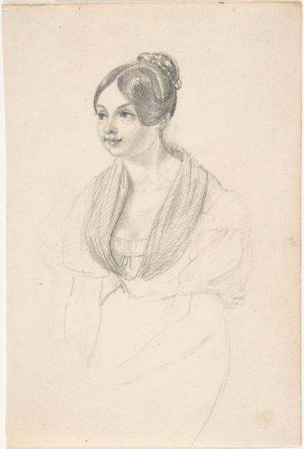 Portrait of a Young Woman; verso: Sketch of a Young Woman with her Hands Resting on a Table