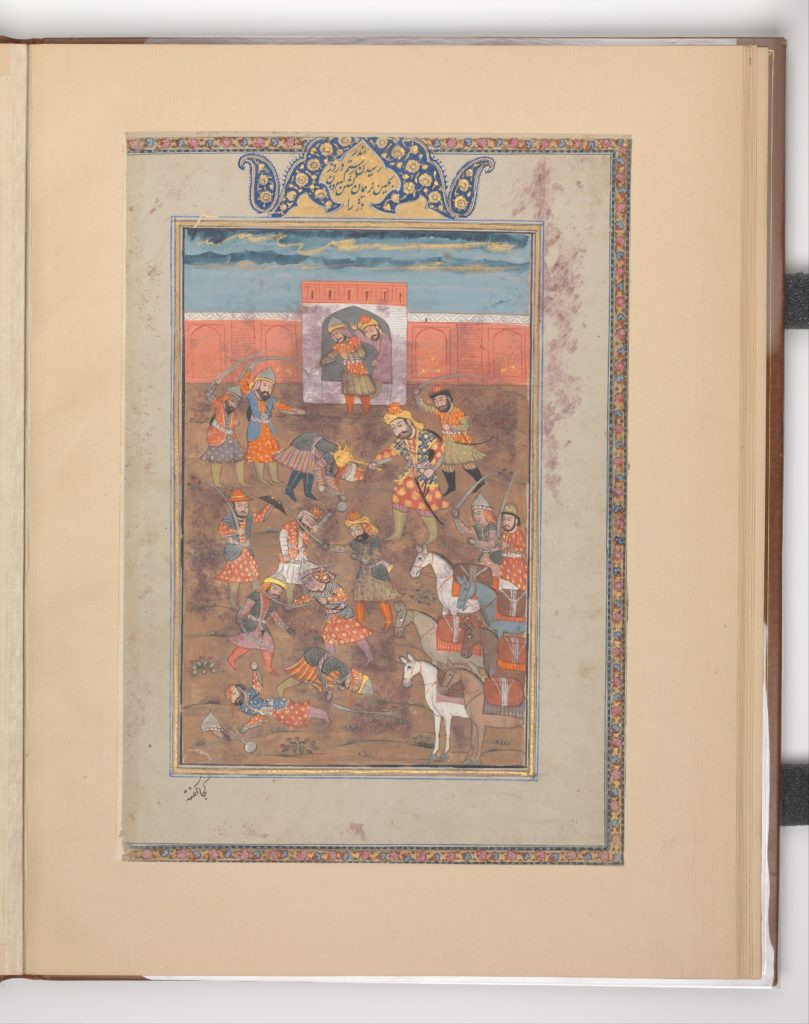 """""""Rustam Captures the Citadel of Mount Sipand"""", Folio from a Shahnama (Book of Kings)"""