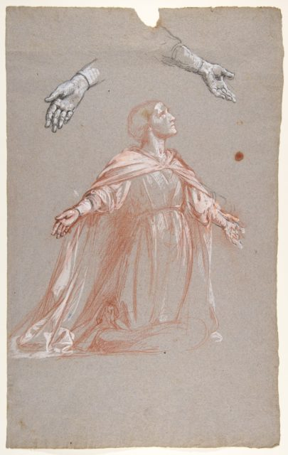 Sainte Clotilde (middle register; study for wall paintings in the Chapel of Saint Remi, Sainte-Clotilde, Paris, 1858)