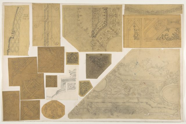 Sixteen designs of the decoration of walls and ceilings