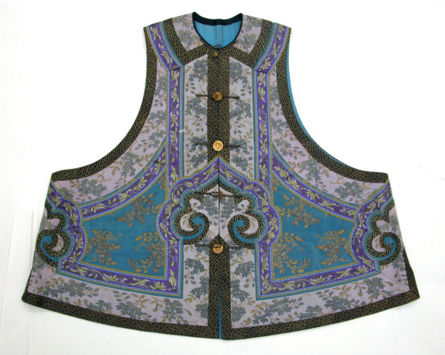 Sleeveless Jacket with Flowering Vine Pattern and Bands