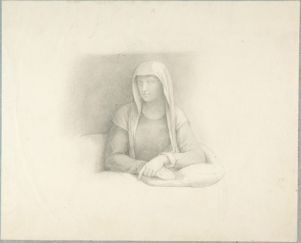 Study of a Woman Leaning on a Cushion