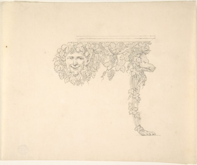 Table Design with Bacchus and Boar's head
