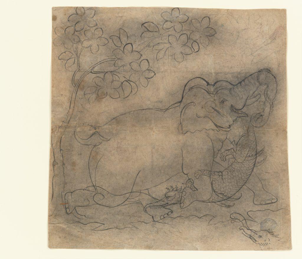 The Elephant King Wrestles a Crocodile: Illustration from a Gajendramoksha Series
