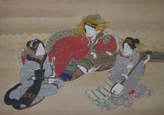 Three Beauties Playing Musical Instruments