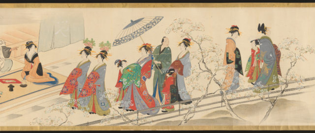 """Three Gods of Good Fortune Visit the Yoshiwara; or """"Scenes of Pleasure at the Height of Spring"""""""