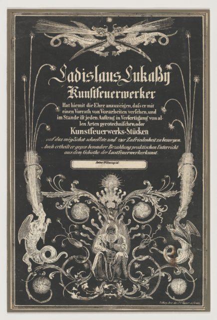 Trade card for Ladislas Lukassy Kunstfeuerwerker