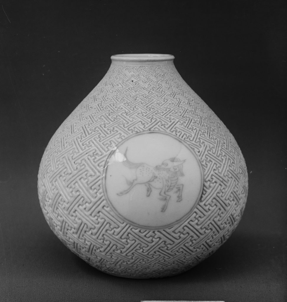 Vase with Horse and Kirin on Geometric Sayagata (key fret) Pattern (one of a pair)