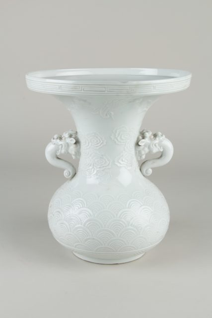 Vase with Lion-Shaped Handles and Cranes amid Clouds