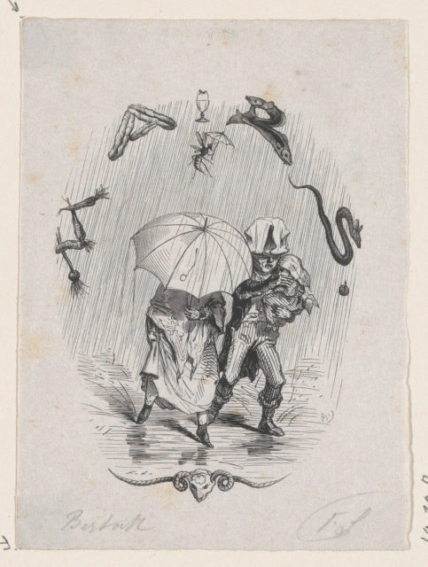 Woman and Man Carrying a Child, Walking in the Rain with an Umbrella
